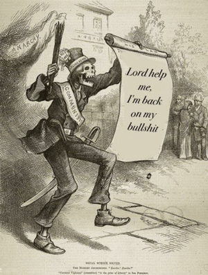 Socialist skeleton dancing and holding a sign saying 'Lord help me, I'm back on my bullshit'